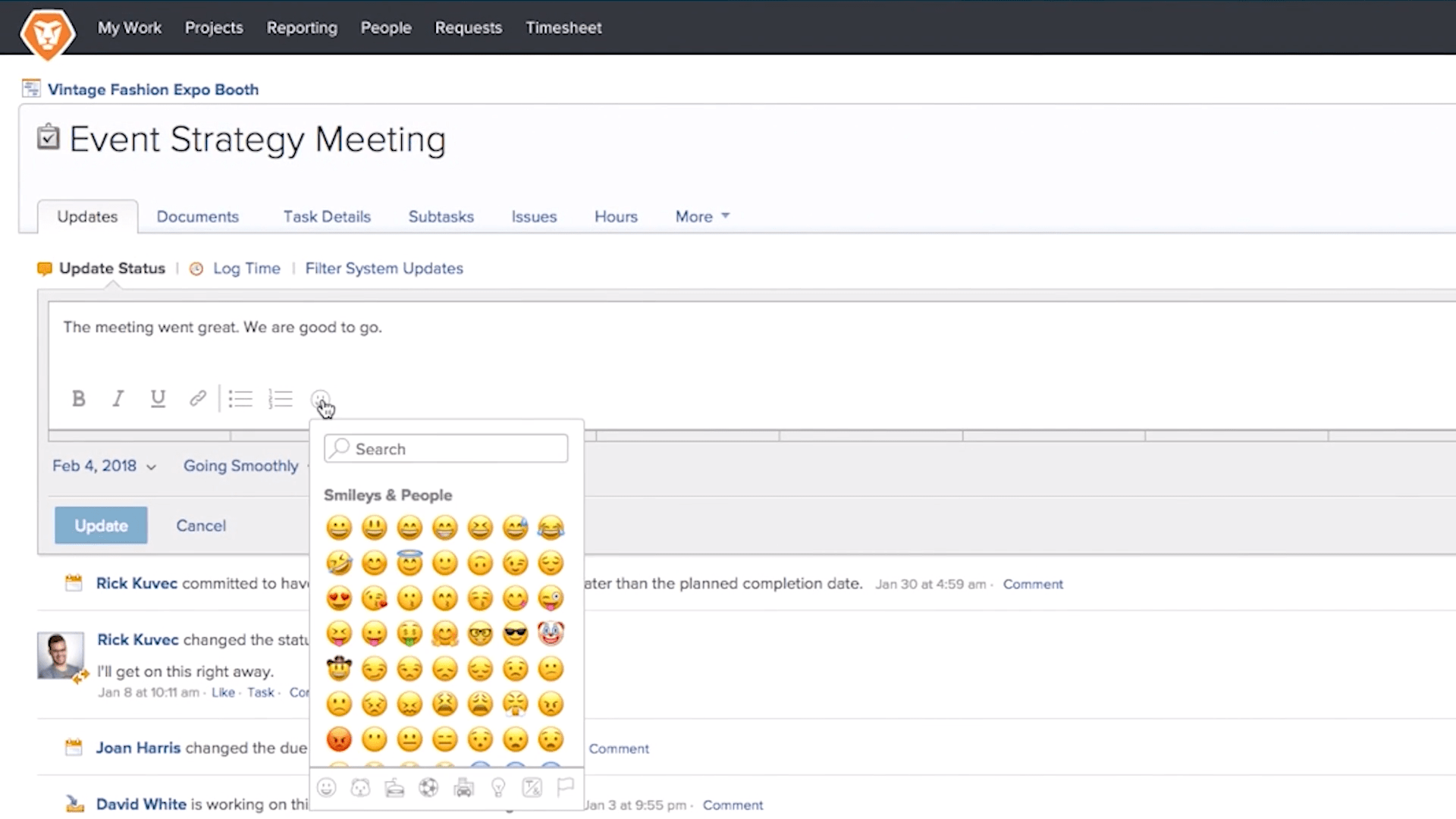 Workfront Discussion Feature Screenshot