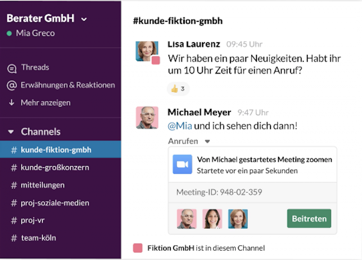 Slack Test Interface Beispiel