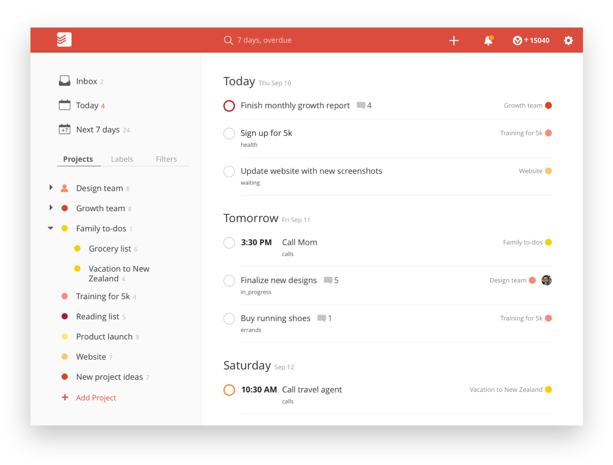Todoist Review Screenshot