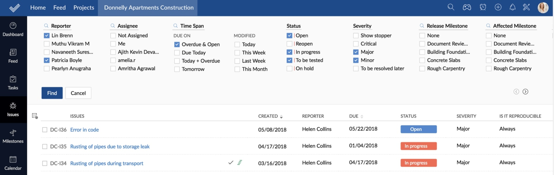 Zoho Projects Issue-Tracking Screenshot