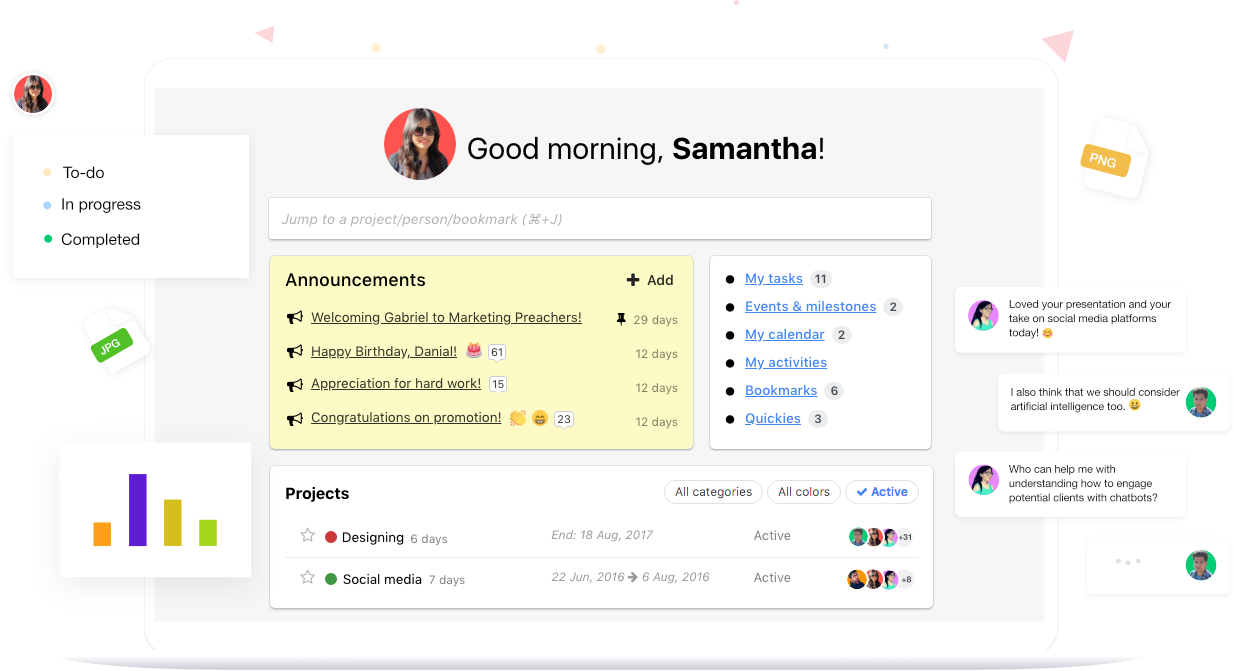ProofHub Dashboard Screenshot